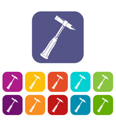 Hammer slag of welder icons set flat vector
