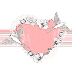 Heart made from flowers and birds background vector image