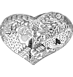 Heart shape with doodles vector image