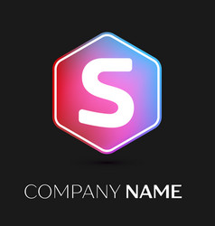 letter s logo symbol in colorful hexagonal vector image