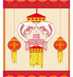Mid autumn festival - koi fish card vector