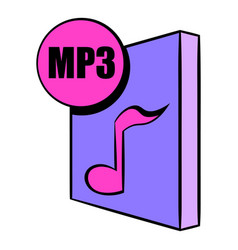 mp3 file icon cartoon vector image