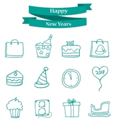 Object new year icons art vector