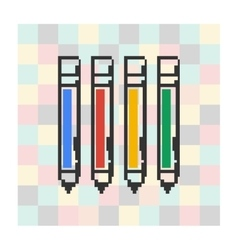 Pixel icon pen on a square background vector