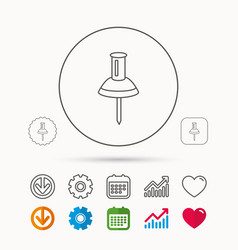 Pushpin icon pin tool sign vector