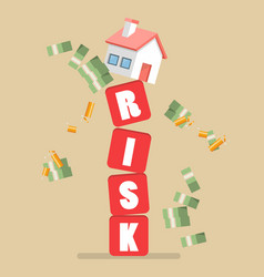 real estate on shaky risk blocks vector image vector image