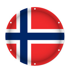 Round metallic flag of norway with screw holes vector