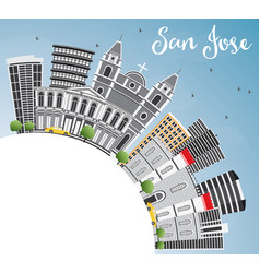 San jose skyline with gray buildings blue sky and vector