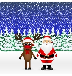 Santa claus and christmas reindeer vector