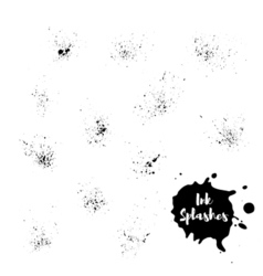 Set of ink splash hand painted background vector