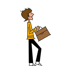 Side view of boy holding bag vector image vector image