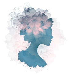 Silhouette Of Floral Woman vector image vector image