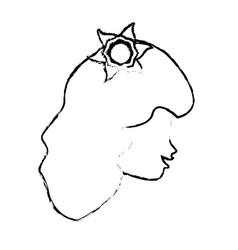 sketch head woman flower icon vector image vector image
