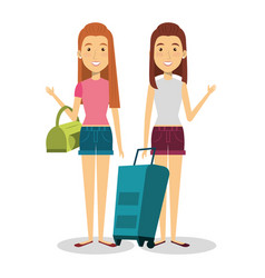 Travelers group with suitcases avatars vector
