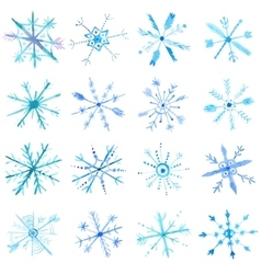 Watercolor snowflakes set vector image