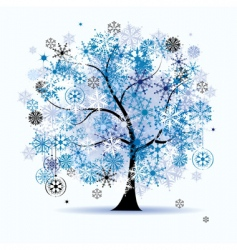 winter tree snowflakes christmas vector image vector image