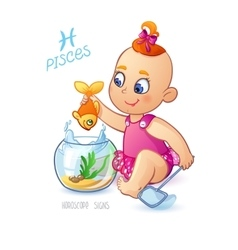 Zodiac sign PISCES Cute baby girl fishes in the vector image vector image
