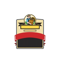 Organic Farmer Carry Basket Badge Retro vector image