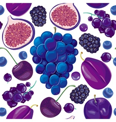 Seamless pattern of blue and lilac fruits vector image
