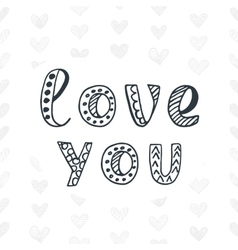 Love you valentines day typography poster vector