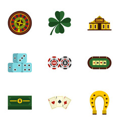 Poker icons set flat style vector