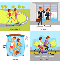 Lifestyle people 2x2 compositions vector