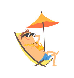 Happy cartoon man sunbathing on a lounger with vector