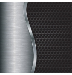 Abstract silver background with metallic grill vector image