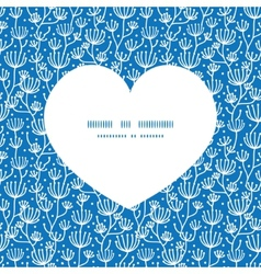 Blue white lineart plants heart silhouette pattern vector