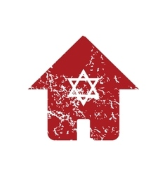 Jewish house red grunge icon vector