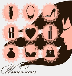 Women icons - 9 round pretty women icons with lace vector