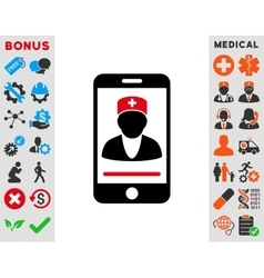 Mobile doctor icon vector