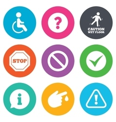 Attention caution icons information signs vector