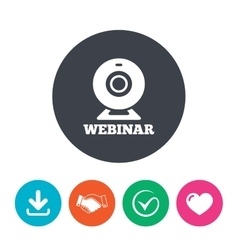 Webinar web camera sign icon online web study vector