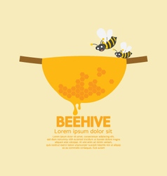 Beehive with bees vector