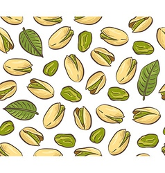 Roasted pistachio seed with shell seamless pattern vector