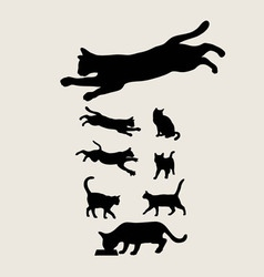 Cat set silhouettes vector