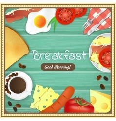 Breakfast table with fried egg sausage bacon vector