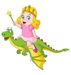 princess riding dragon vector image
