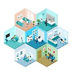 Hospital hexagonal tessellated pattern isometric vector