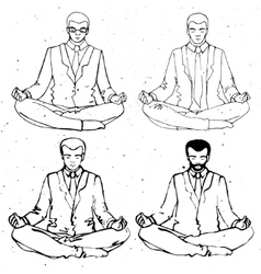 Businessman meditation businessman vector