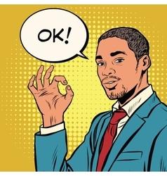 OK gesture black businessman vector image