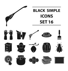 apiary set icons in black style big collection of vector image vector image