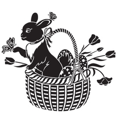 basket with the hare vector image