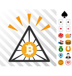 Bitcoin pyramid shine icon with bonus vector