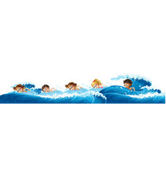 children swimming in the ocean vector image vector image