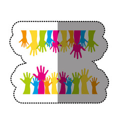 Color together hands up icon vector
