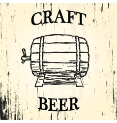 Craft beer barrel vector image
