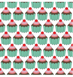 cupcakes seamles pattern vector image