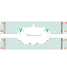 Cute blue and pink invitation card shabby chic vector